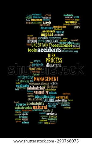 Risk management conceptual presented in word cloud