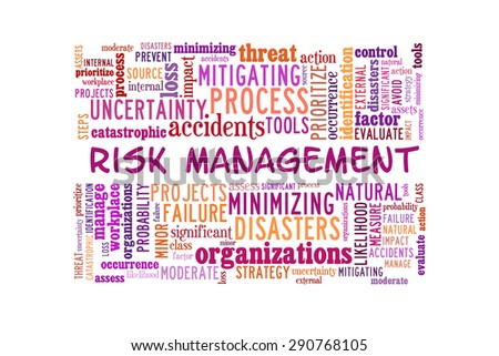 Risk management conceptual presented in word cloud - stock photo