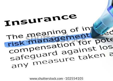 Risk management highlighted in blue, under the heading Insurance. - stock photo