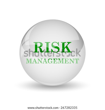 Risk management icon. Internet button on white background. - stock photo