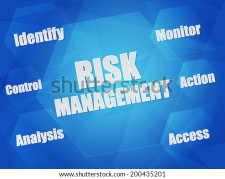 risk management - identify, control, analysis, monitor, action, access - business organization concept words in hexagons over blue background, flat design - stock photo