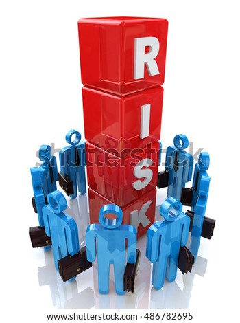 Risk Management in the design of information related to risks in business. 3d illustration
