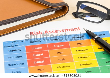 Risk management matrix chart with pen and organizer book