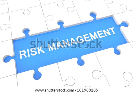 Risk Management - puzzle 3d render illustration with word on blue background - stock photo