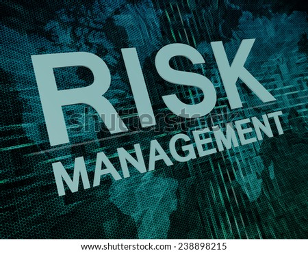 Risk Management text concept on green digital world map background  - stock photo
