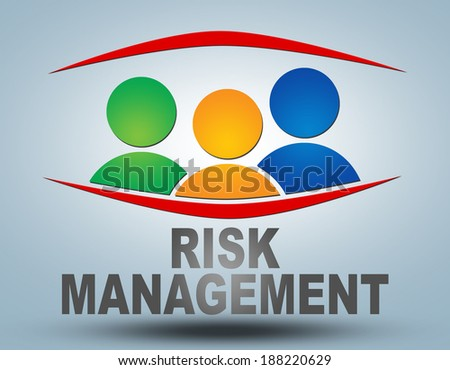 Risk Management text illustration concept on grey background with group of people icons - stock photo