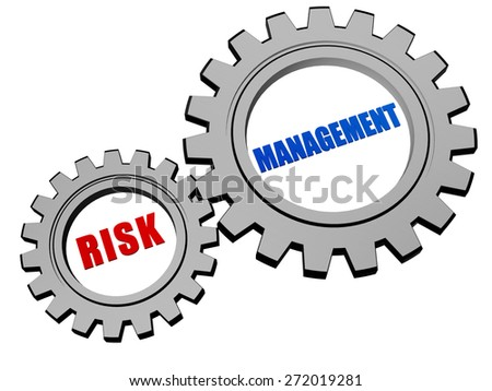risk management - text in 3d silver grey metal gear wheels, business organization concept words - stock photo