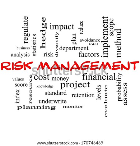 Risk Management Word Cloud Concept in red caps with great terms such as total, factors, levels, financial and more.