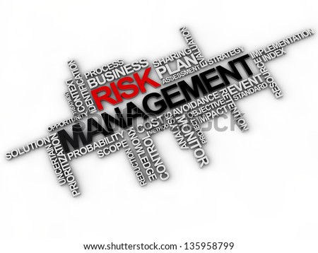 risk management word cloud over white background - stock photo