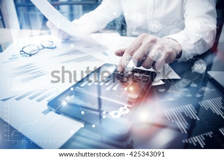 Risk Management Work process.Picture Trader working Market Report Document Touching Screen Tablet.Using Worldwide Graphic Icons,Stock Exchange Report.Business Project Startup.Horizontal,Flares Effect - stock photo