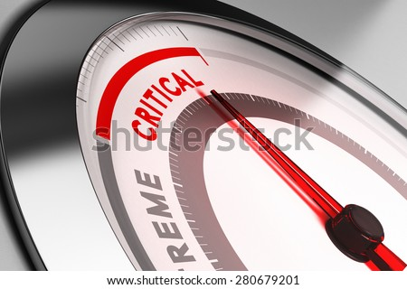 Risk meter with needle pointing very close to critical position limit. Concept for risk or crisis management. - stock photo