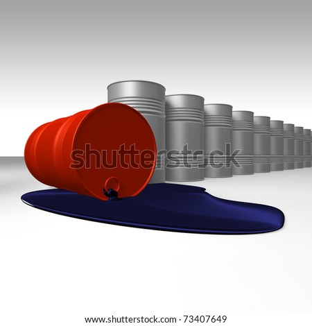 Risk of crude oil pollution, conceptual image, 3D render image.