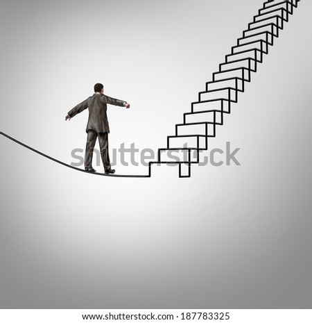 Risk opportunity and danger management business concept with a businessman balancing on a tightrope shaped as upward stairs or stairway as a financial career metaphor for reducing uncertainty. - stock photo