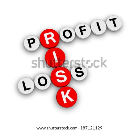 risk profit loss crossword puzzle - stock photo