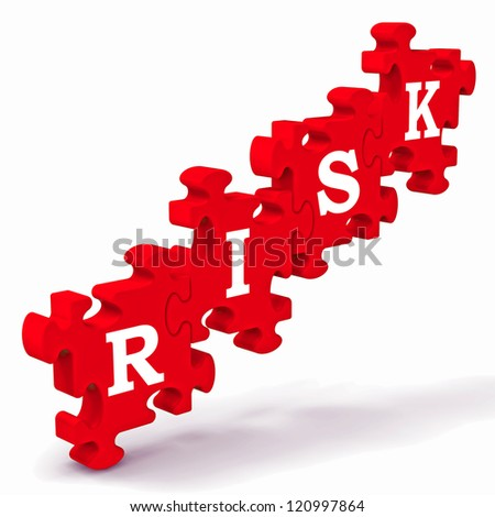 Risk Puzzle Showing Crisis, Problems And Insecurity