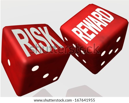 risk reward dice red - stock photo