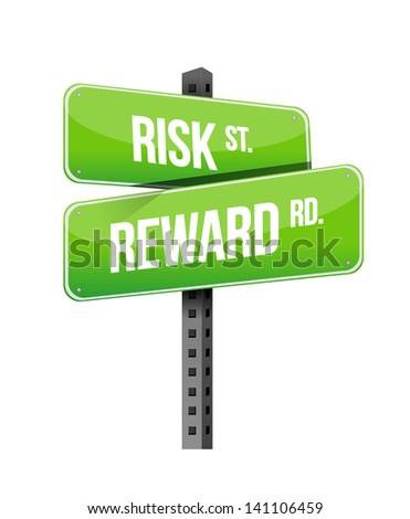 risk, reward road sign illustration design over white - stock photo