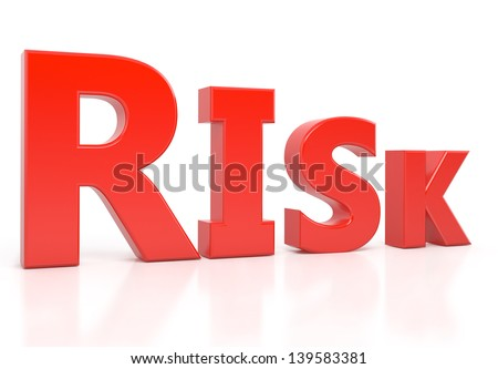 risk text 3d isolated over white background - stock photo