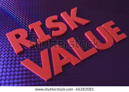 Risk value word on blue neon background, part of a series of business words
