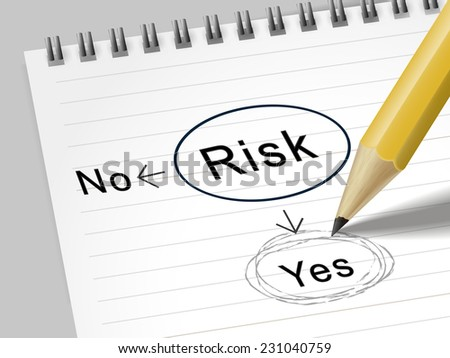 risk word circle marked by pencil over notebook - stock photo