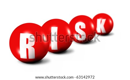 Risk word made of 3D spheres on white background, focus set in foreground