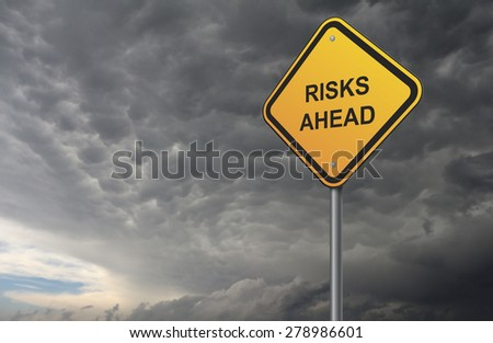 risks warning road sign - stock photo