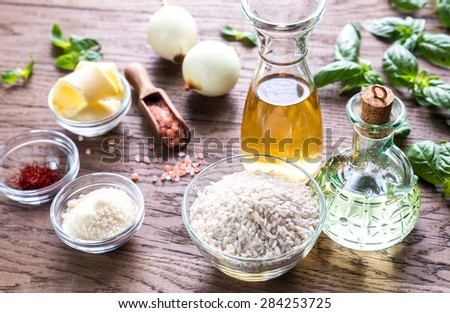 Risotto ingredients - stock photo