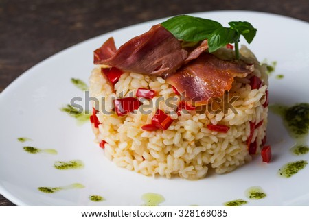 Risotto on a plate - stock photo