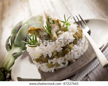 risotto with artichokes - stock photo