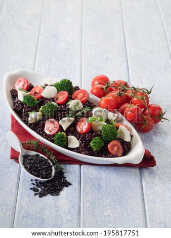 risotto with black rice broccoli tomato mozzarella, healthy food