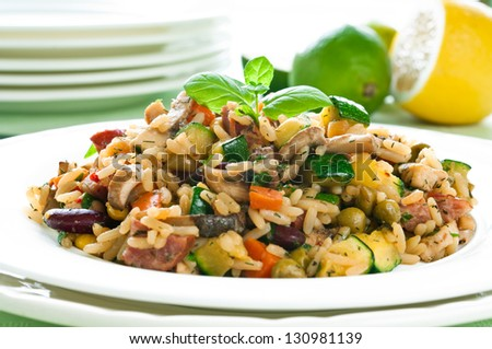 Risotto with chicken and vegetables on white plate