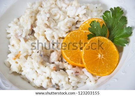 Risotto with decoration/Risotto - stock photo