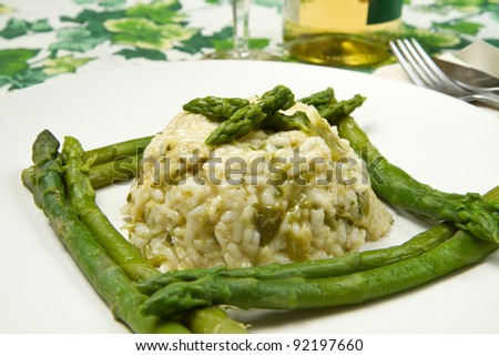 risotto with fresh asparagus - stock photo