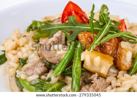 Risotto with meat and vegetables