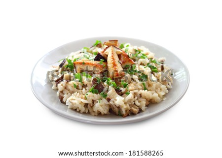 Risotto with mushrooms isolated on white background with clipping path - stock photo