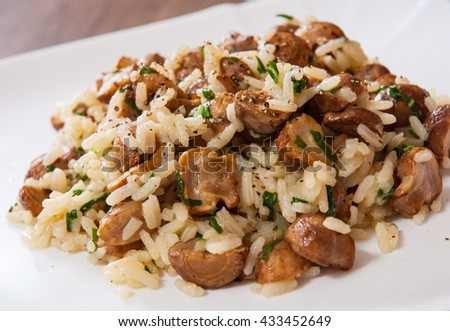 risotto with mushrooms on plate