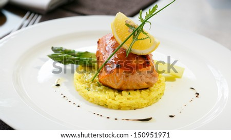 risotto with salmon and asparagus - stock photo