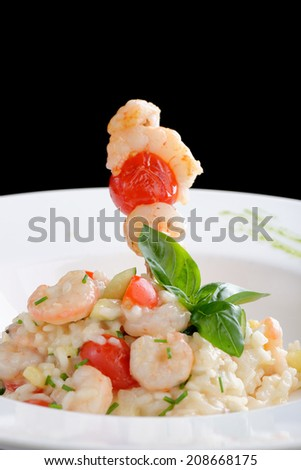 Risotto with shrimps/fine dining - stock photo