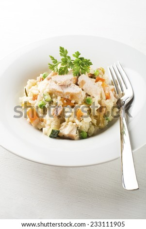 Risotto with vegetable and chicken served on white plate - stock photo