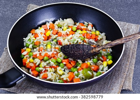 Risotto with Vegetables, Peas. Studio Photo