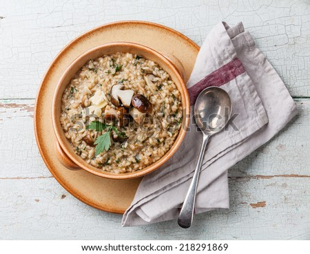 Risotto with wild mushrooms with parsley and parmesan on blue ...