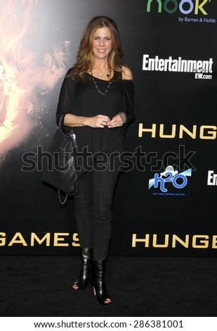 Rita Wilson at the Los Angeles premiere of 'The Hunger Games' held at the Nokia Theatre L.A. Live in Los Angeles on March 12, 2012. - stock photo