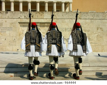 Ritual guard change in front of the Greek Parliament, Athens, Greece