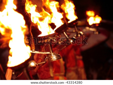 Ritual of worship the river Ganges in city of Varanasi - India - stock photo