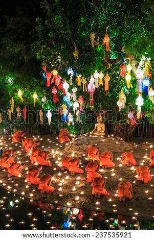 Ritual Wat Phan Tao Temple, Chiang mai,Thailand - stock photo