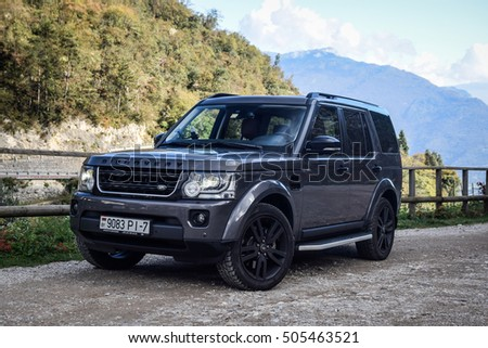 RIVA DEL GARDA, ITALY - OCTOBER 22, 2016: Land Rover Discovery at the test-drive. Discovery is always in its element, whether itâ??s crossing town or taking everyone  for a adventure.