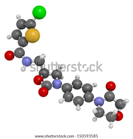 Rivaroxaban anticoagulant drug (direct factor Xa inhibitor), chemical structure. Atoms are represented as spheres with conventional color coding: hydrogen (white), carbon (grey), oxygen (red), etc