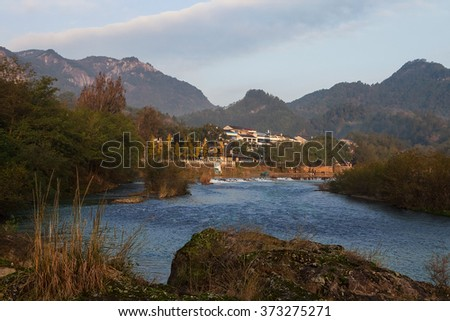 River among mountain. Wenzhou, Zhejiang province, China