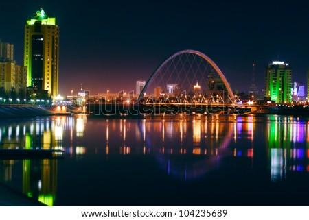 River and bridge of Kazakhstan capital - stock photo