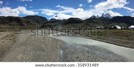 River and Fitz Roy in El Chalten, Argentina - stock photo